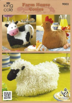 King Cole - 9003 Cow, Hen & Sheep Cosies Knitting Pattern